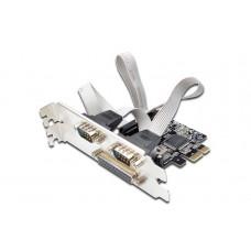Digitus PCIexpress I/O kaart, parallel + 2x serieel